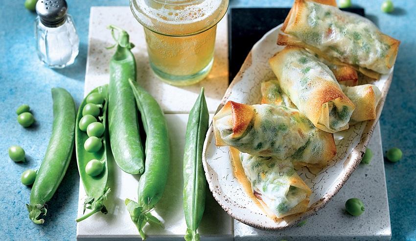 Rotlles de pèsols i formatge