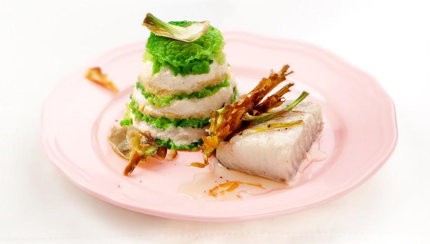 Terrina de brandada de bacallà amb col i carxofes