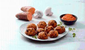 Mandonguilles vegetals de moniato, carabassa i bolets