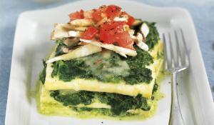 Lasanya de tofu i espinacs